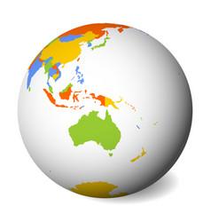blank political map of australia 3d earth globe vector image