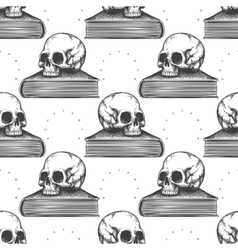 Book and human skull seamless pattern vector