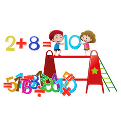 Boy and girl solving math problem vector