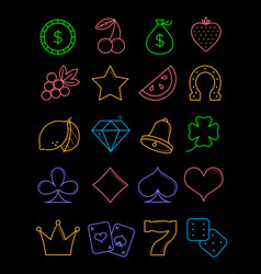 bright casino line icons slot-machine symbols vector image