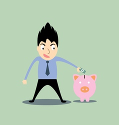 Business man putting money in the pig vector
