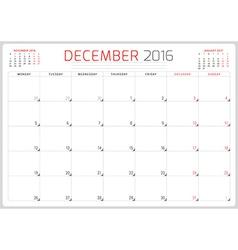 Calendar Planner 2016 Design Template December vector