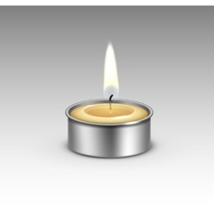 Candle in the Metal Candlestick Flame Fire Light vector image