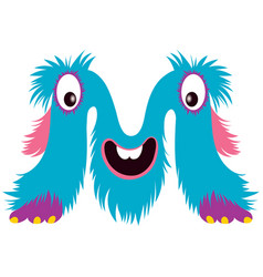 cartoon capital letter m from monster alphabet vector image