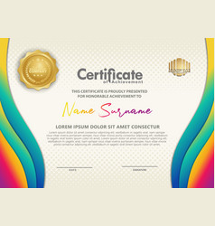 Certificate template with wave style ornament vector