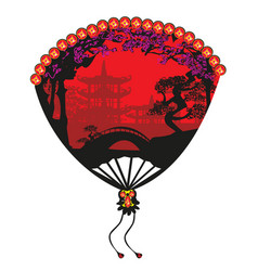 chinese landscape and beautiful fan vector image