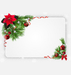 christmas festive background with decorations vector image