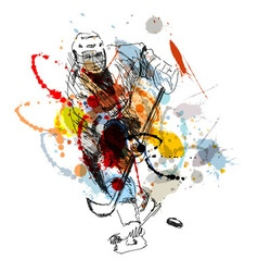 Colored hand sketch hockey player vector