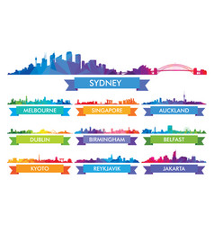 colorful ity skyline australia and the island vector image