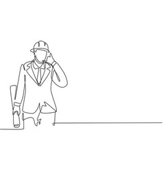 Continuous one line drawing architect with call vector