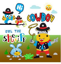 cowboy cartoon set vector image