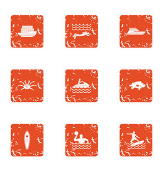 Cruise sport icons set grunge style vector