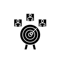 Customer targeting black icon sign on vector
