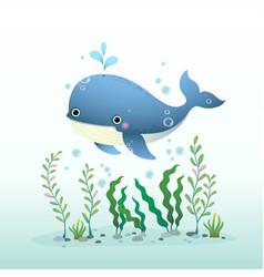 Cute cartoon blue whale swimming vector