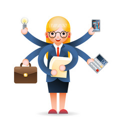 cute young businesswoman multitasking professional vector image