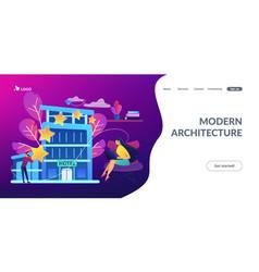 Design hotel concept landing page vector