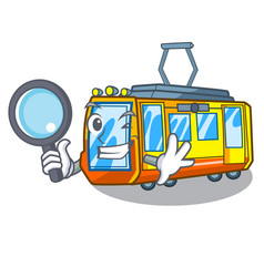 Detective electric train isolated with cartoon vector