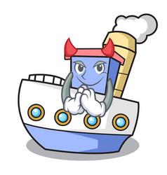 Devil ship mascot cartoon style vector