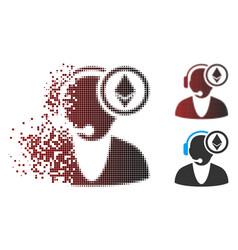 dissipated pixel halftone ethereum operator icon vector image