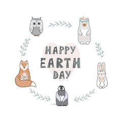 Earth day banner with lettering and cute animals vector