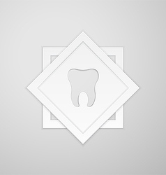 Emblem human tooth on two square vector