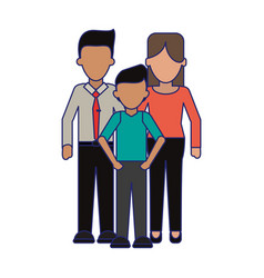 Family executive parents with son blue lines vector