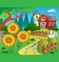 Farm theme with sunflowers vector