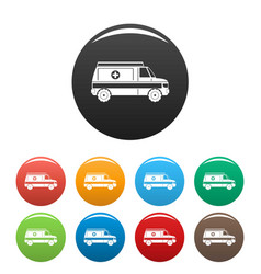 fast ambulance icons set color vector image