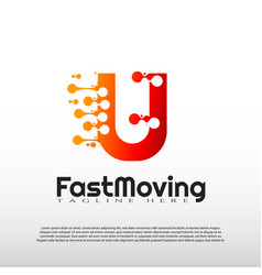 Fast moving logo with initial u letter concept vector