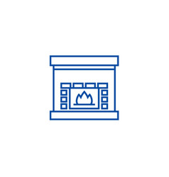 fireplacehearth line icon concept fireplace vector image