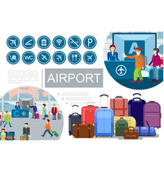 flat airport composition vector image