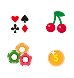flat cartoon casino gambling symbols set vector image