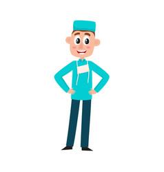 flat cartoon male doctor surgeon in uniform vector image