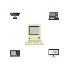 flat icon laptop set of vintage hardware display vector image