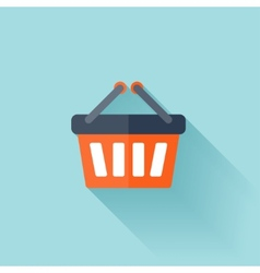 Flat shopping bag icon vector image