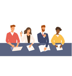 friendly men and women sitting at table holding vector image