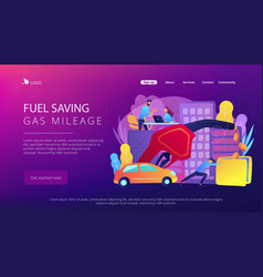 Fuel saving and gas mileage landing page vector