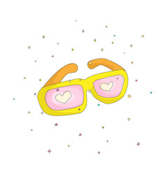 fun cartoon yellow glasses with pink hearts vector image