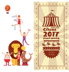 Fun fair carnival and circus vintage poster vector