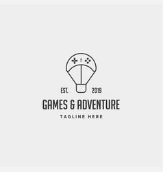 Game logo design controller balloon journey vector