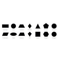 Geometric shapes with labels set 14 basic vector