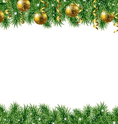 Golden Fir Tree Frame vector image