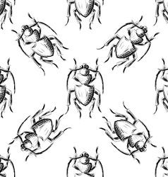 Hand drawn Sketch Beetles Seamless Pattern vector image