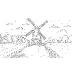 Hand drawn windmill pasta or spaghetti label vector