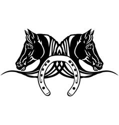 Heads black horses with shoe vector