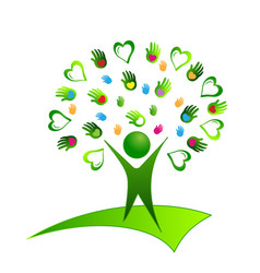 Healthy organic human being with hearts and hands vector