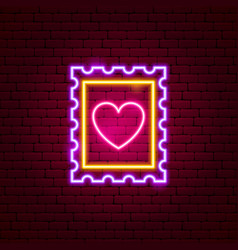heart post stamp neon sign vector image