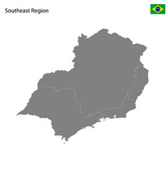 high quality map southeast region brazil vector image