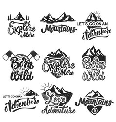 hiking mountain exploration emblems handwritten vector image