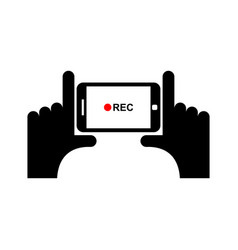horizontal video sign hand and smartphone to vector image